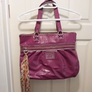 Coach large poppy daisy raspberry pink leather bag